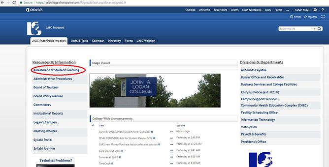 Screenshot from SharePoint